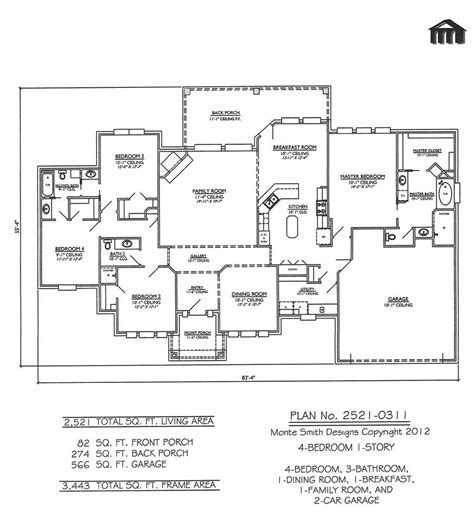 Single Story 4 Bedroom House Plans 1 Story 4 Bedroom House Plans Studio Design Gallery Best Design