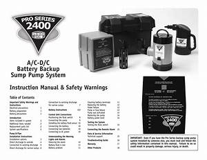 Phcc Pro Series Pro Series 2400 Battery Backup Sump Pump