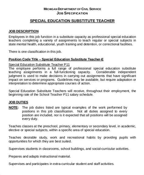 Teachers Resume Pdf by Substitute Resume Exle 5 Free Word Pdf Documents Free Premium Templates