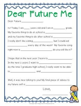 letter to future self template time capsule letter letter to future self beginning or end of year activity