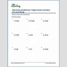 Grade 5 Math Worksheets Divide Decimals By Whole Numbers (19)  K5 Learning