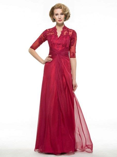 sleeves lace chiffon long mother   bride dresses