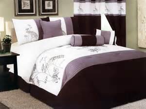 7 pc microfiber embroidery dandelion striped comforter set lavender purple queen ebay