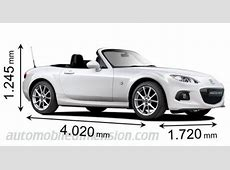 Dimensions of Mazda cars showing length, width and height