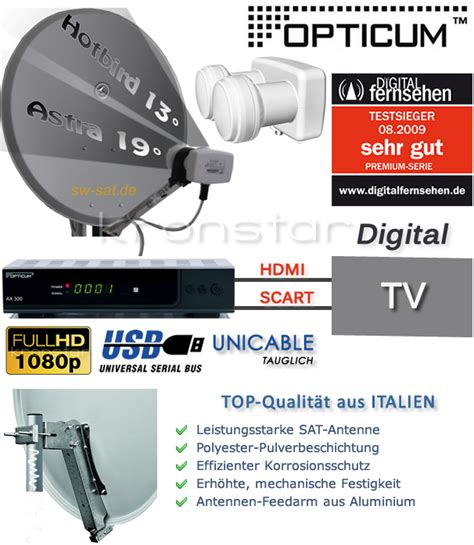 digitale hd sat anlage astra hotbird opticum ax300 usb receiver digital dvb s2 ebay