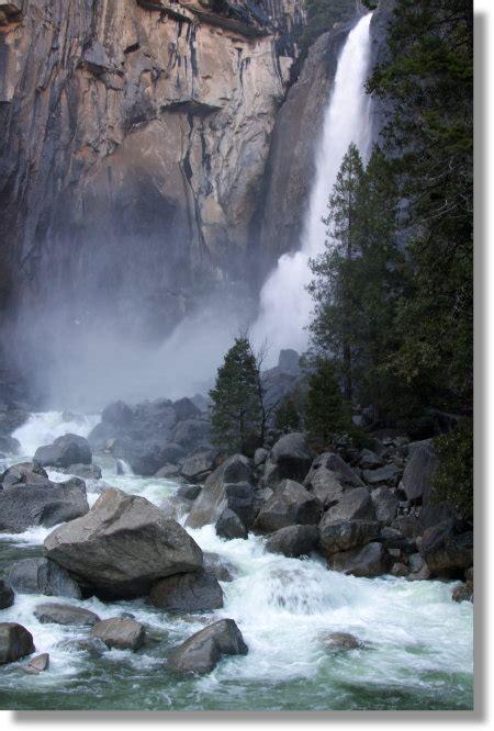 Lower Yosemite Falls From The Overlook Bridge