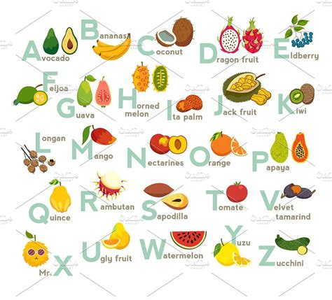 abc cuisines fruits abc vector fruit alphabet illustrations