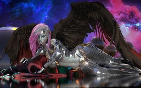 cyborg angel fantasy abstract background wallpapers