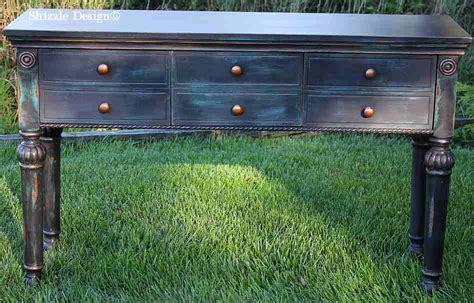shizzle design black teal console table heavily