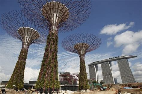 Singapore Sets Giant Metal Concrete Trees With