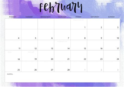 Free February 2019 Printable Calendar Templates