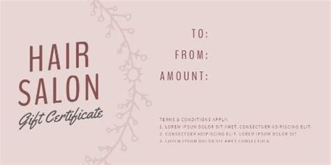 printable beauty salon gift certificate templates