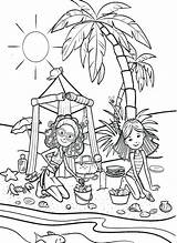 Coloring Vacation Pages Sand Castle Beach Playing Groovy Pa Getcolorings Printable sketch template