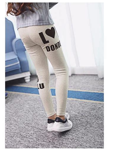 autumn teen girls pants letter printed black white leggins