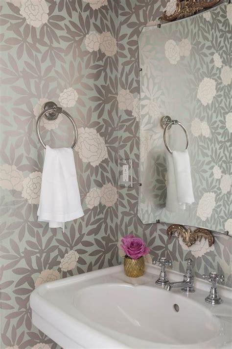 pink  gray powder room wallpaper transitional bathroom