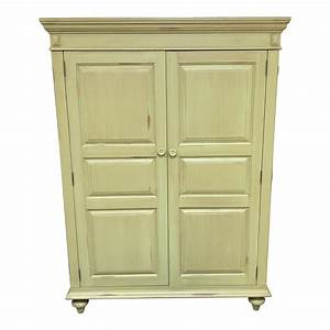 Distressed Green Painted Wood Computer Armoire Design