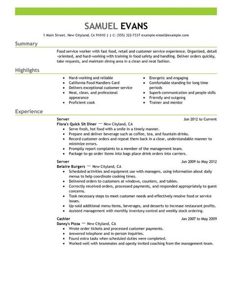Server Skills For Resume by Fast Food Server Resume Sle Resume Cover Letter