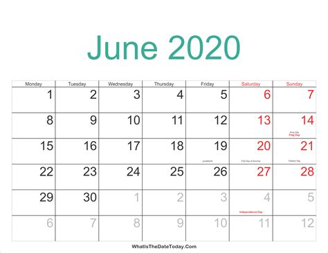 june calendar printable holidays whatisthedatetodaycom
