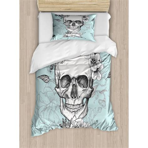 Grunge Duvet Cover Set, Skull and Flowers Day of the Dead ...