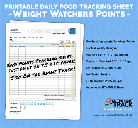 cuisine weight watchers daily food tracking sheet for weight watchers points