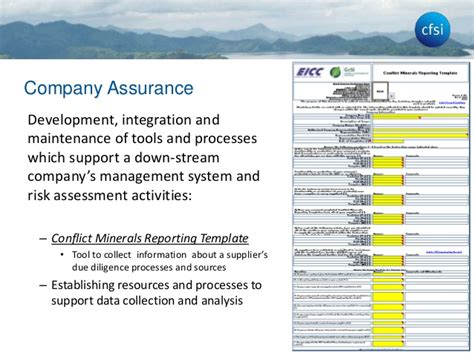 conflict minerals reporting template cfsi conflict minerals due diligence presentation