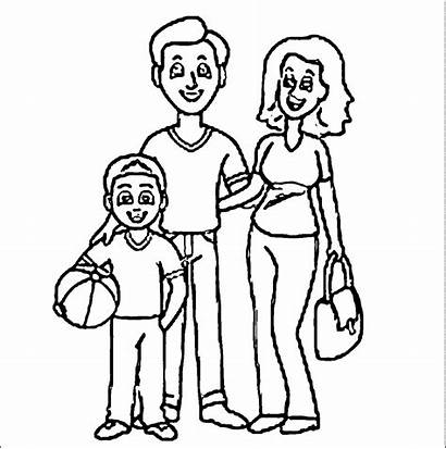 Coloring Father Drawing Mother Printable Daughter Mom