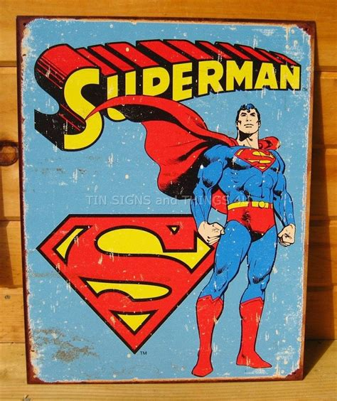 Comic Wall Decor by Rustic Retro Superman Tin Sign Poster Vtg Metal Wall Decor
