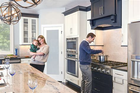 open floor plan  black white kitchen design cliqstudios