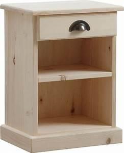 Table De Nuit : table de nuit bois brut 1 tag re 1 tiroir sur tables ~ Teatrodelosmanantiales.com Idées de Décoration