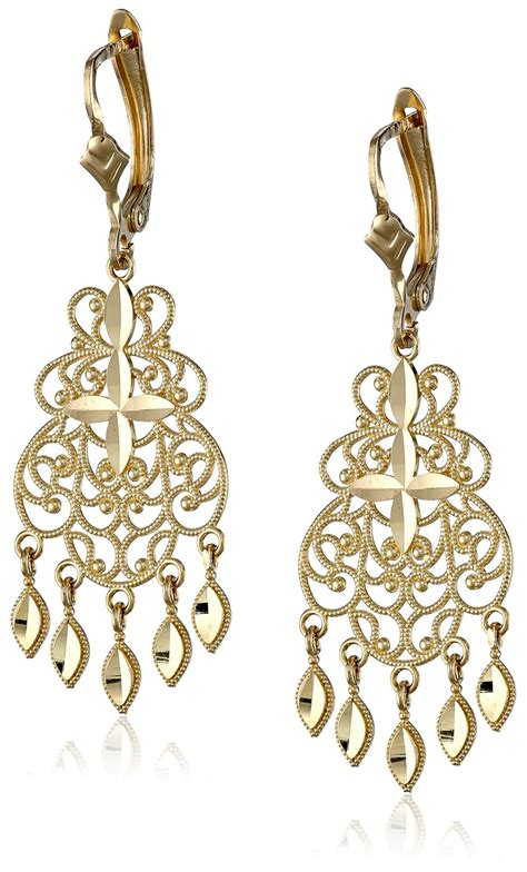 14k yellow gold chandelier earrings visuall co