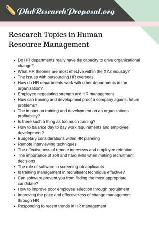 research proposal topics  human resource management