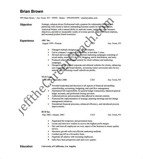Ceo Resume Format by Ceo Resume Template 11 Free Sles Exles Format