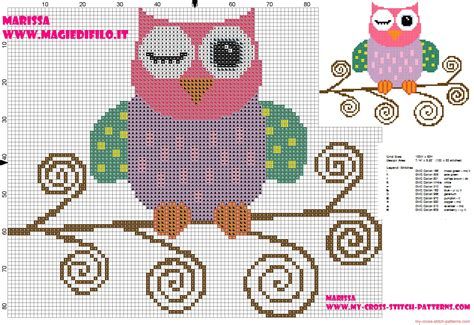Owl Pumpkin Pattern Free by Cross Stitch Pattern Of Beautiful Colored Owl On Branch