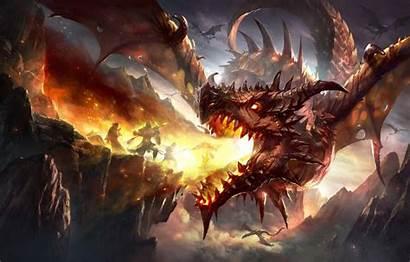 Dragon Fire Armor Fantasy Horns Artwork Shield
