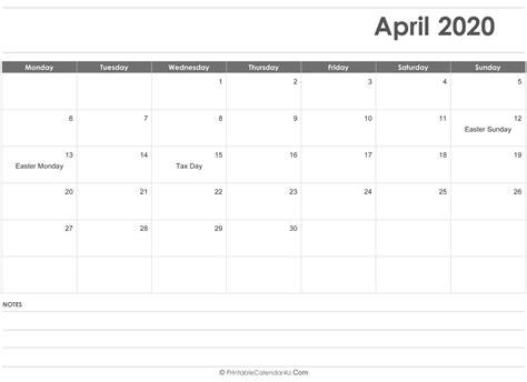april calendar templates