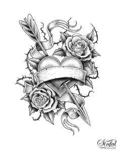 free tattoo stencils printable | Tattoo Design and Ideas | ideas | Rose tattoo stencil, Tattoo
