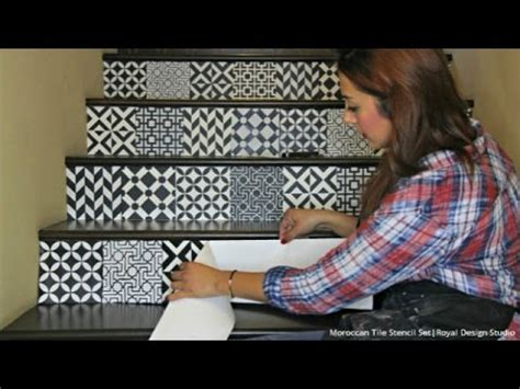 stencil stair risers  easy   moroccan