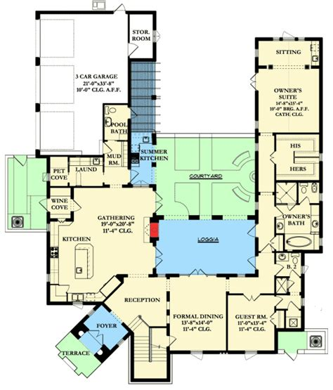 plan ka spanish colonial  central courtyard courtyard house plans spanish style