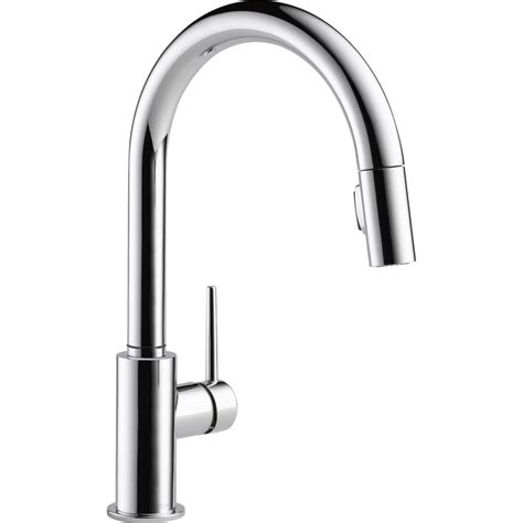 chrome kitchen faucets shop delta trinsic chrome 1 handle deck mount pull
