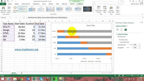 Or Exle by How To Make Gantt Chart In Excel 2013