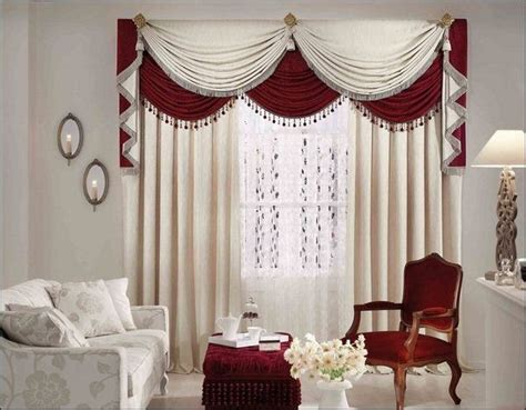 curtains  living room ideas white red waterfall valance