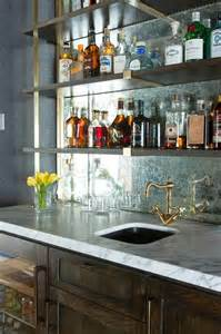 Wine Refrigerator Cabinets Wood by Brass And Wood Wet Bar Shelves Design Ideas