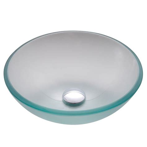 kraus vessel sink mounting ring kraus 14 in glass vessel sink in frosted with pop up