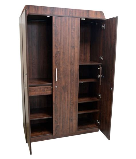 Buy Wooden Wardrobe by Eros 3 Door Wooden Wardrobe Almerah Buy At Best