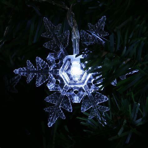 snowflake string lights outdoor 8 2ft solar powered 10led snowflake string fairy light