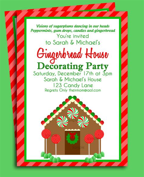 gingerbread house invitation printable christmas party