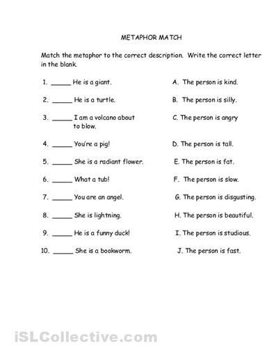 20 best images of simile metaphor worksheets middle school