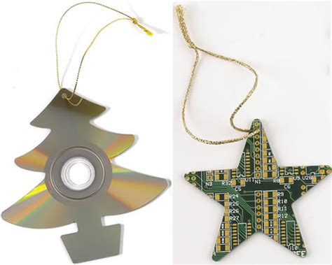 cd and circuit board christmas tree decoration