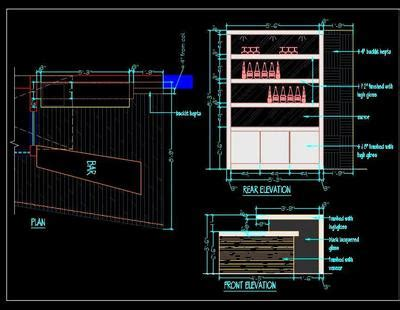 home bar counter detail cad drawing plan  design