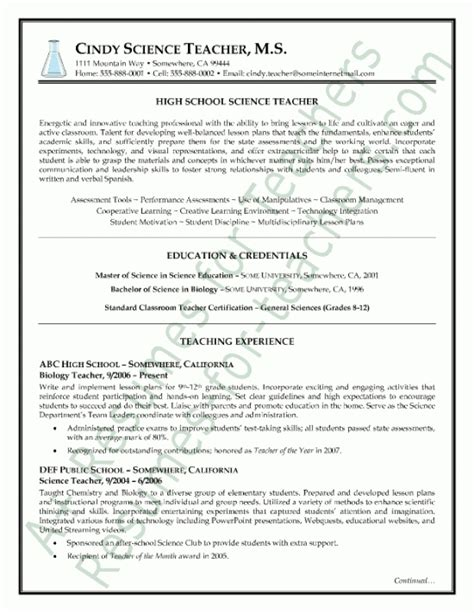 science resume sles best letter sle